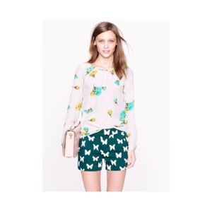 J Crew Green and White Butterfly Cotton Shorts.